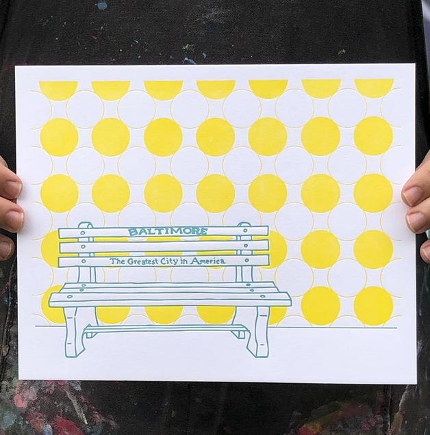"Tiny Dog Press Baltimore Bench Print, Teal/Yellow, 8x10"""