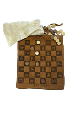 """Madison Bay Company 9-1/2"""" Colonial Checkers, Leather Engraved, Wood Pieces, Muslin Bag"""