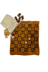 """Madison Bay Company 9-1/2"""" Fox and Hound Checkers, Leather Engraved, Wood Pieces, Muslin Bag"""