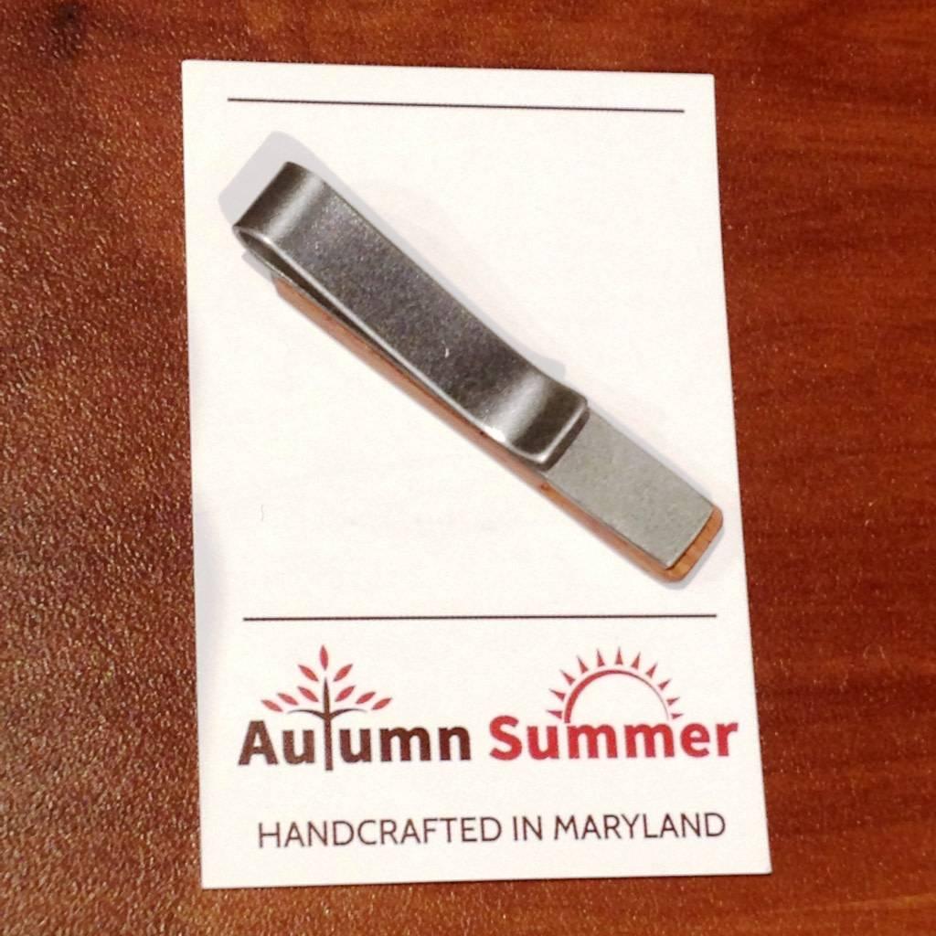Autumn Summer Tie Clip, Mahogany Wood