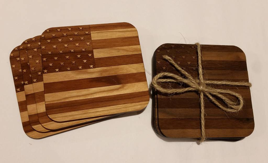 Autumn Summer Wooden Coasters, American Flag