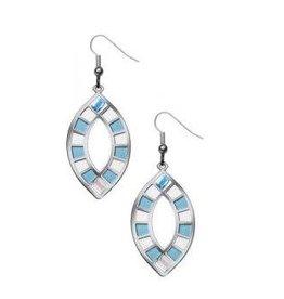 David Howell & Co. Wedding Ring Quilt Earrings - Blue/White