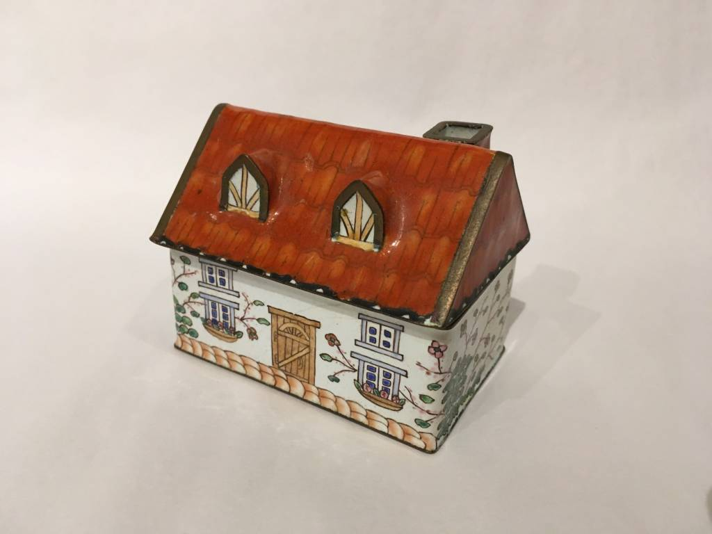 Enamel-on-Copper House Trinket Box
