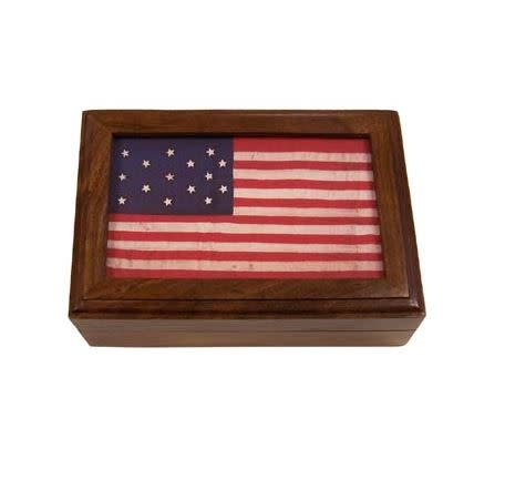 Madison Bay Company Wooden Keepsake Box 15 Star Flag