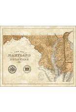 16x20 Sepia State Map, Md, Matte