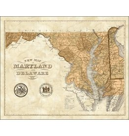 Print- Sepia Maryland Map, Matted