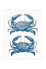Print- Watercolor Blue Crabs, Matted