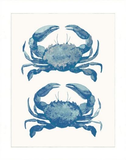 16x20 Watercolor Animals Print, Blue Crabs, Matte