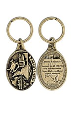 Key Ring - Antique Brass Maryland Oval