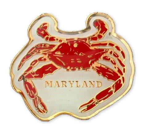 Lapel Pin - Brass Enamel Maryland Crab