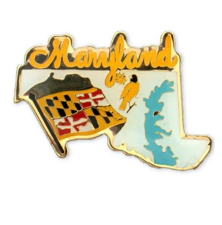 Lapel Pin - Brass Enamel Maryland Map