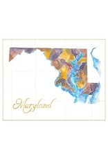 16x20 Watercolor State Map Print, Md, Matte