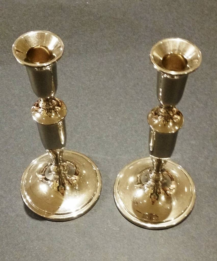Silver-Plated Round Candlesticks, one pair