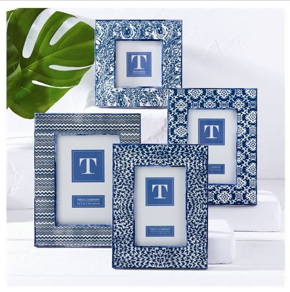 Indigo Batik Print Photo Frame, 5x7