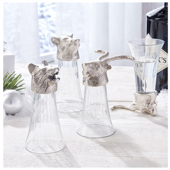 Set of 3 Animal Head Stirrup Cups
