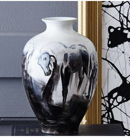 Hand Painted Horse Vase