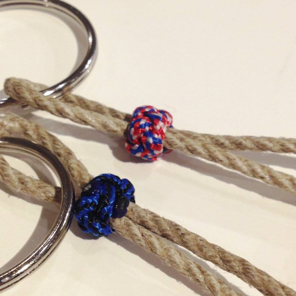 Key Fob - Monkey's Fist, Red/White/Blue