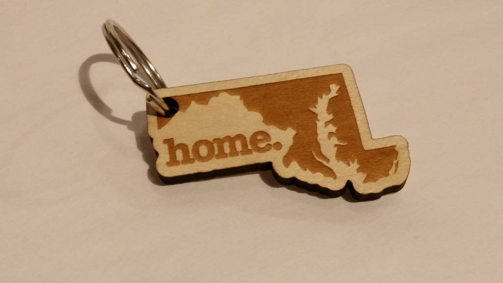 home. MD State Wooden Keychain