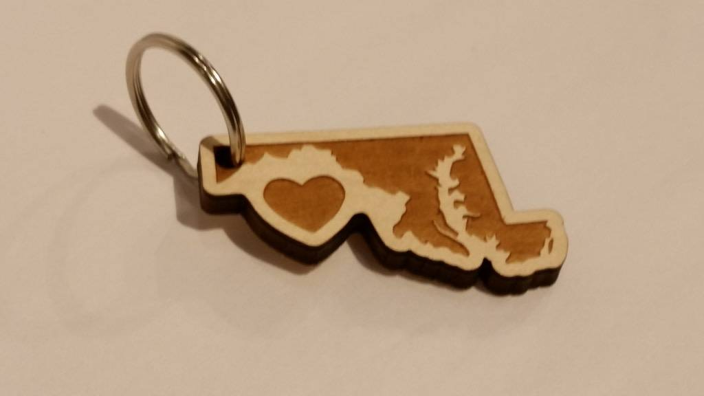home. MD Wooden Heart Key chain