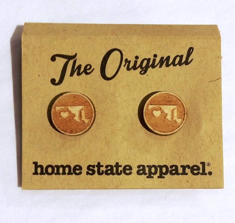 Earrings- Heart State Studs, Home State Apparel