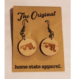Big Circle Heart Dangle Earrings