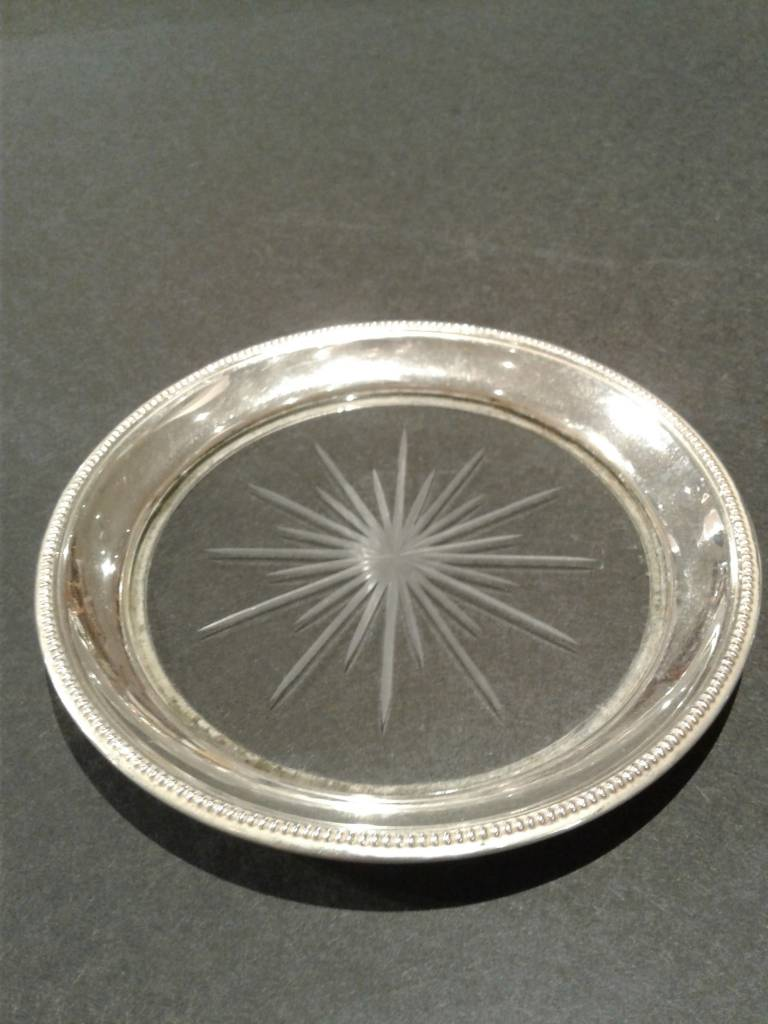 Glass Wine Coaster with Sterling Base