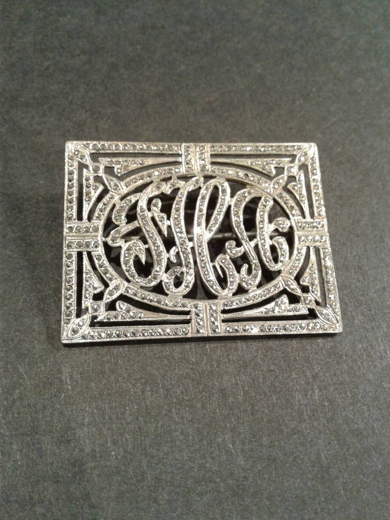 Sterling & Marcasite Monogrammed Pin