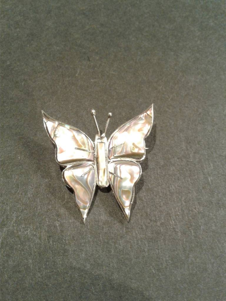 Sterling Abalone Butterfly Pin
