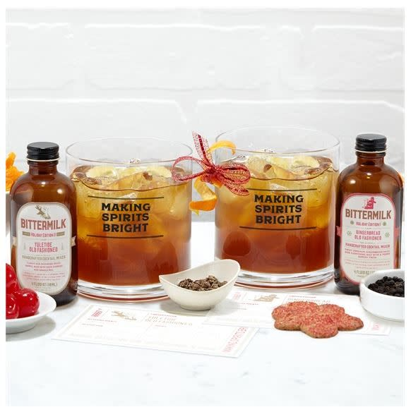 """Holiday Bar Glass - """"Making Spirits Bright"""" Double-Old Fashioned"""