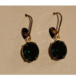 Samantha Georgian Paste Earrings - Green/Gold