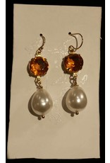 Collet Earrings - Topaz/Pearl
