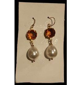 Collet Earrings - Topaz/Pearl