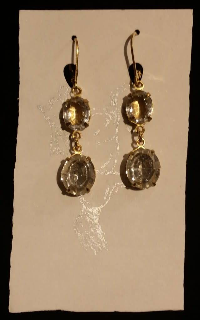 Collet Earrings - Clear Double Drop