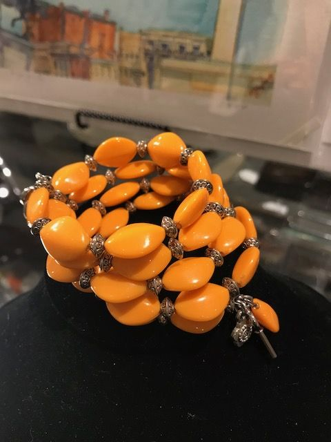 Wire-wrapped Bracelet with Silver - Orange