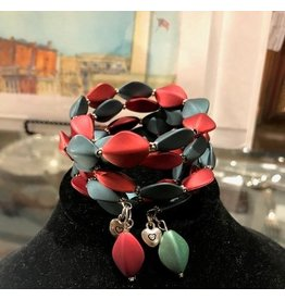 Wire-wrapped Bracelet with Silver - Matte Teal/Red
