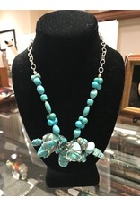Cluster Necklace with Wire-wrapped Turquoise