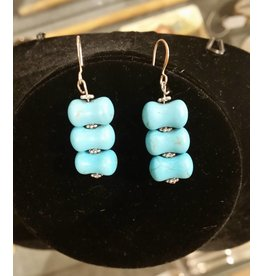 Pair of Wire-wrapped Turquoise Earrings