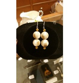 Pair of Cream & Brown Earrings