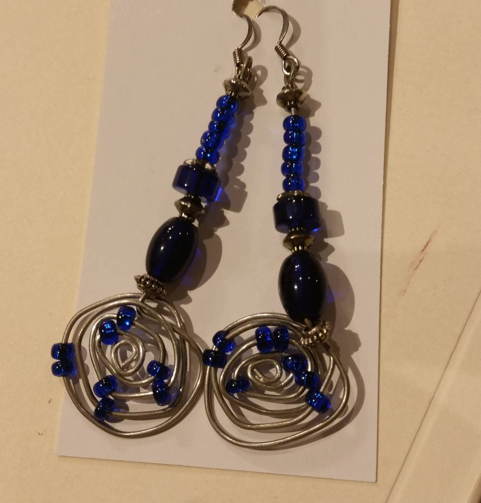 Pair of Blue Wire-wrapped Earrings