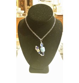 Silver Chain Necklace with Blue Wire Pendant
