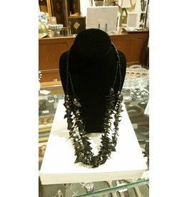 Black Leather & Stone Necklace