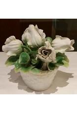 Porcelain Sculpture, Basket of White Flowers