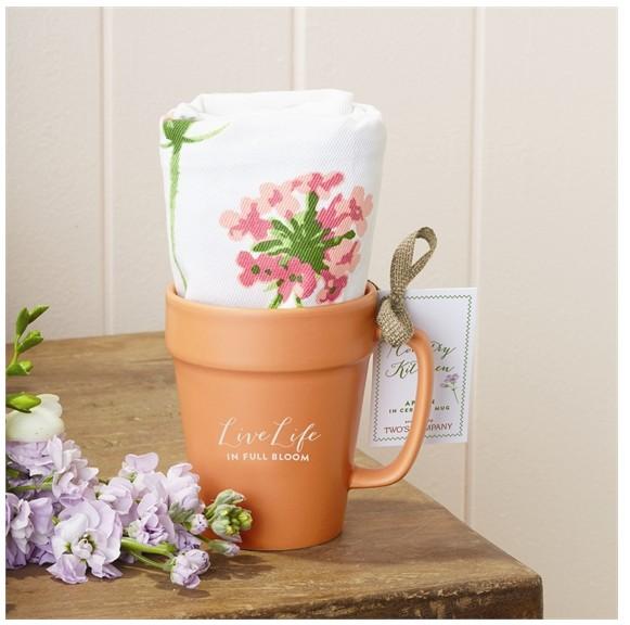 Floral Apron & Ceramic Mug