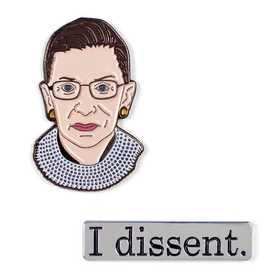 Unemployed Philosophers Guild Ruth Bader Ginsburg & I Dissent Enamel Pin Set - 2 Unique Colored Metal Lapel Pins