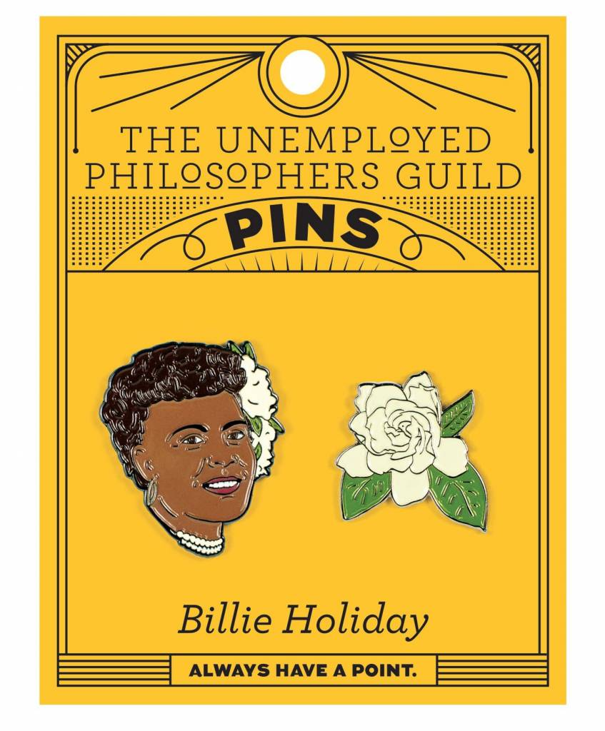 Unemployed Philosophers Guild Billie Holiday and Gardenia Enamel Pin Set - 2 Unique Colored Metal Lapel Pins