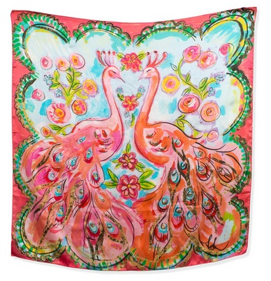 Amanda Johnson Studio Silk Scarf, Love Birds