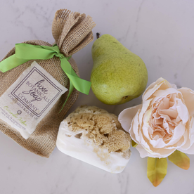 LUX BOTANICALS SOAPS SOAP W/SPONGE PEONY & PEAR BELLINI