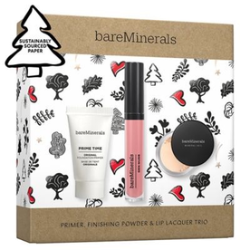 BAREMINERALS BAREMINERALS HOLIDAY PRIMER, FINISHING POWDER AND LIP LACQUER TRIO