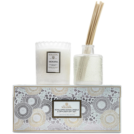 VOLUSPA SCALLOPED EDGE CANDLE & DIFUSSER SET MOKARA