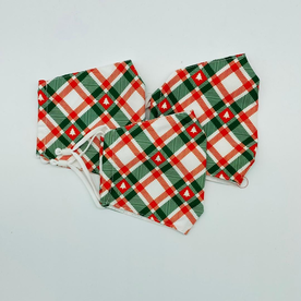 DTLA GREEN AND RED PLAID HOLIDAY FACE MASK